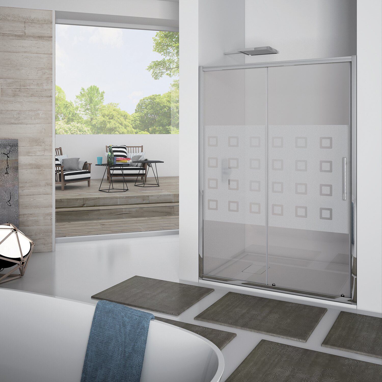Porta doccia scorrevole newplus 137 141 cm in vetro for Box doccia obi