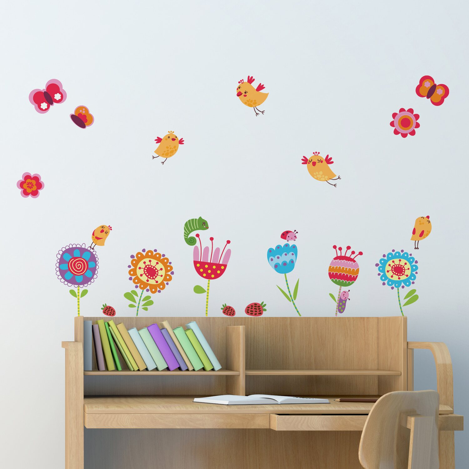 decorazioni adesive per parete birds and flowers acquista