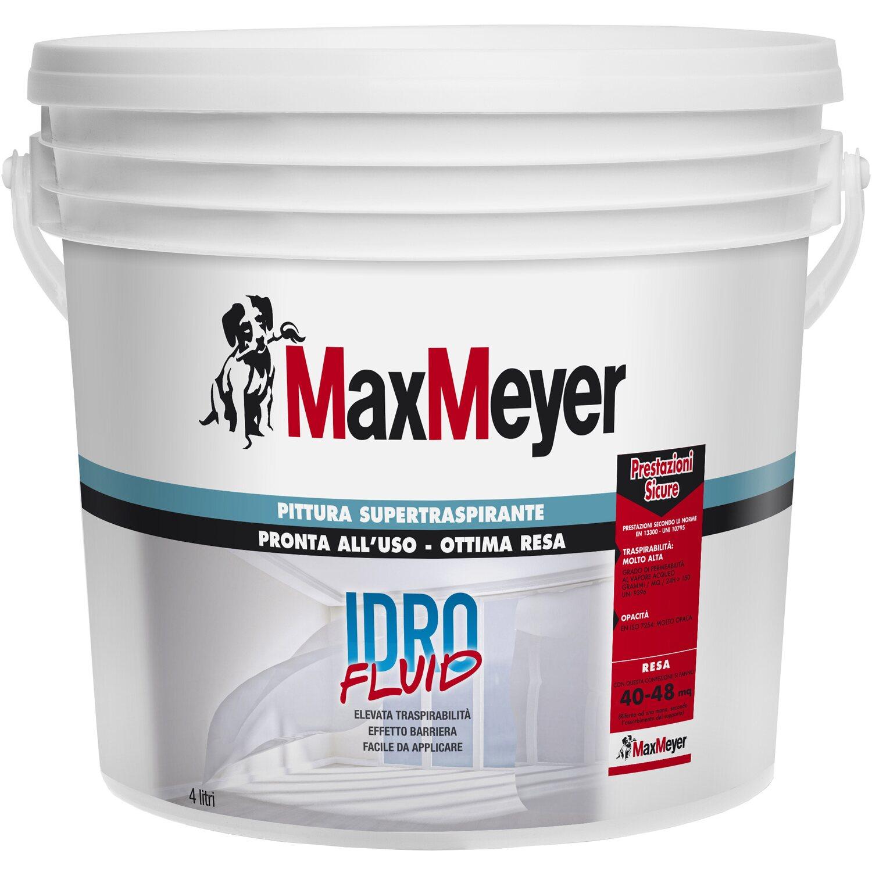 Migliore Pittura Per Interni maxmeyer idropittura traspirante idrofluid bianca 4 l