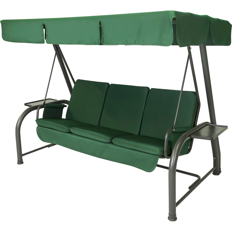 Dondolo Da Giardino Obi.Stiliac Set Cuscini E Tettuccio Dondolo Royal Verde Scuro