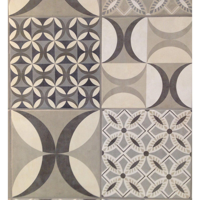Rivestimento parete in ceramica cementine grigio marrone for Adesivi per mattonelle