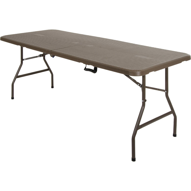 Tavolo pieghevole rattan marrone 180 cm x 75 cm x 74 cm - Tavolo pieghevole da giardino ikea ...
