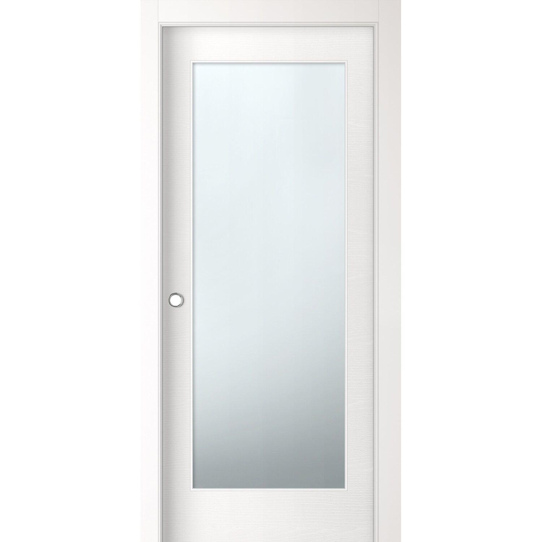 Porta scorrevole vetrata reversibile Aspen bianco frassino 210 cm x 70 cm