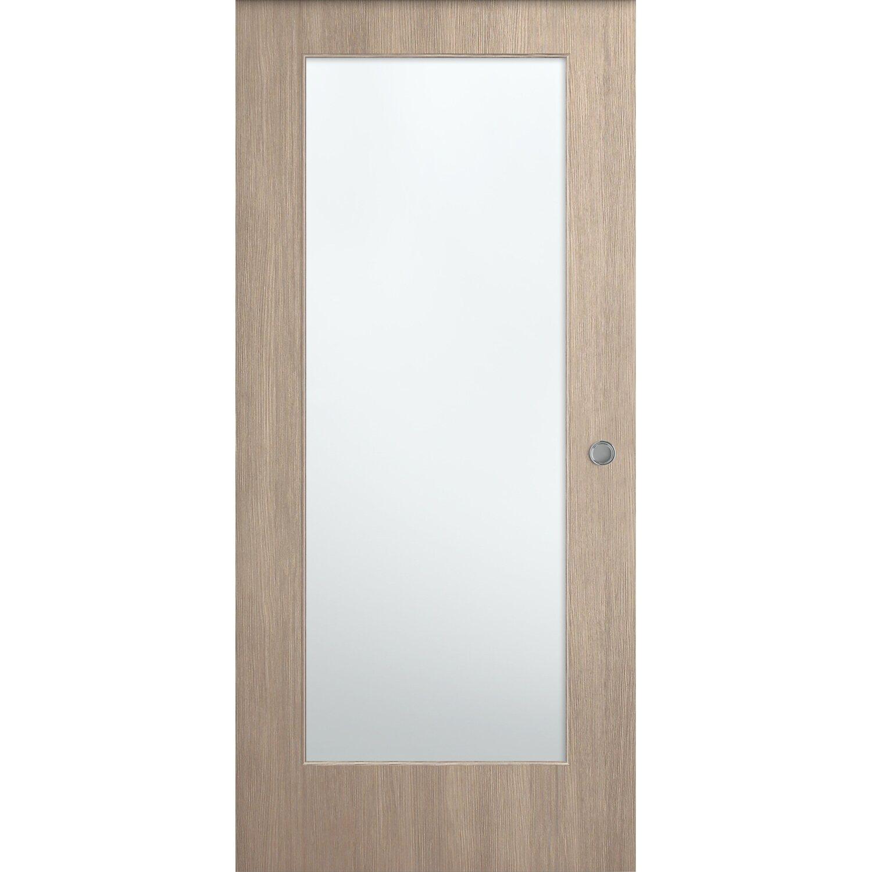 Porta vetrata scorrevole esterna reversibile K2 larice sabbia 210 cm ...