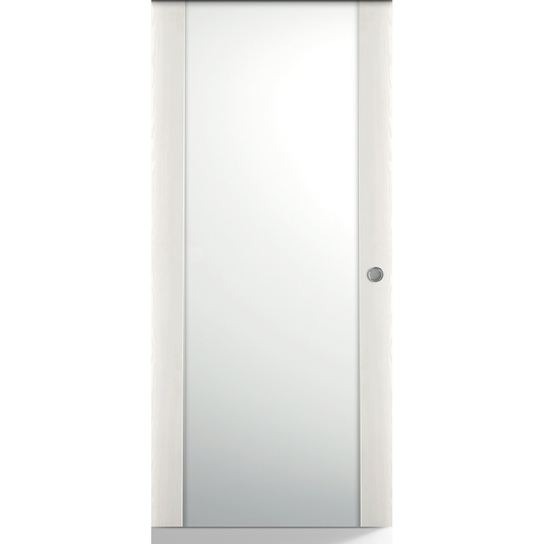 Porta scorrevole esterna vetrata reversibile Manaslu acero neve 210 cm x 80  cm