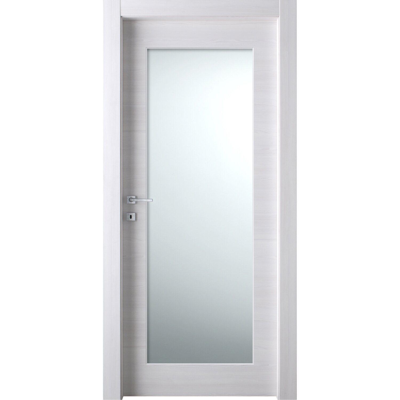 Porta battente vetrata reversibile Thuile acero neve 210 cm x 80 cm ...