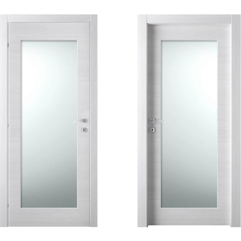 Porta battente vetrata reversibile Thuile acero neve 200 cm x 70 ...
