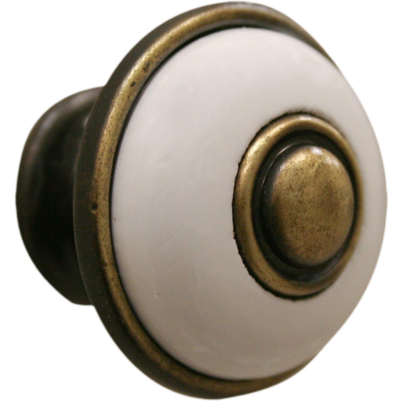 Pomolo in zama-legno Ø 30 mm bronzo satinato-bianco