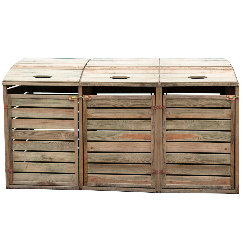 Box Per Bidoni Spazzatura box porta bidoni triplo in legno