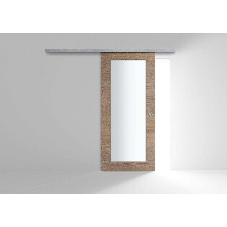 Porta scorrevole esterna vetrata reversibile EKLA Rovere Tabacco 60 cm x  210 cm