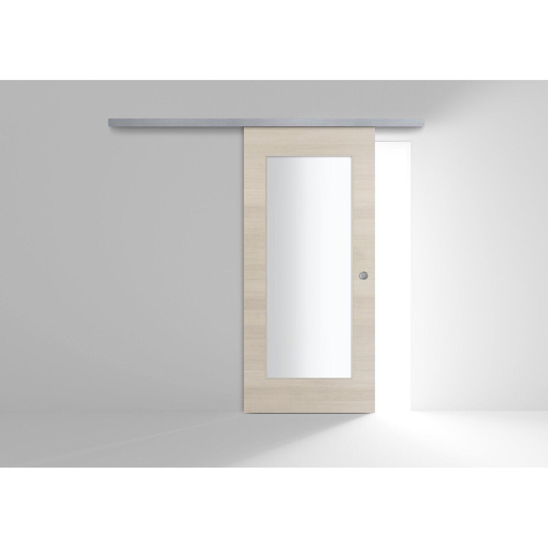 Porta scorrevole esterna vetrata reversibile MAUI Larice Chiaro 60 cm x 210  cm