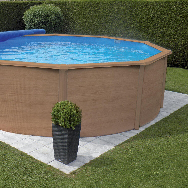 Piscine Da Esterno Rivestite In Legno piscina rotonda deco legno 350x120 cm | obi