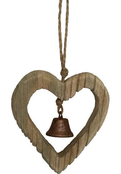 Cuore in legno con campanella in metallo