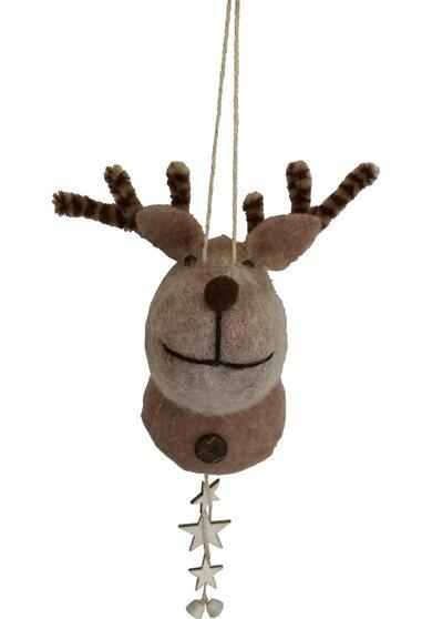 Renna in lana con stelle 12,5 cm