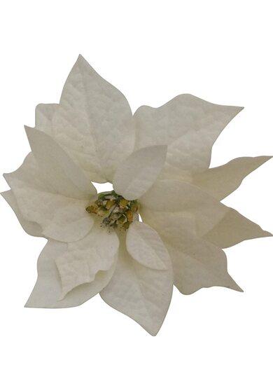 Stella di Natale bianca con neve con clip Ø 23 cm