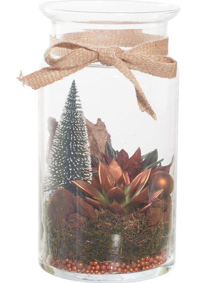 Composizione natalizia 2 piante in vaso di vetro con decorazioni