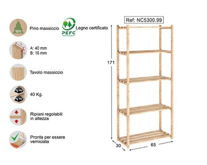 Scaffali In Legno Kit.Scaffale In Kit Natura In Pino Grezzo 171 X 30 X 65 Cm Acquista