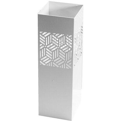 181b927a20 Portaombrelli in metallo con decorazioni geometriche bianco 18 x 18 x 55 cm