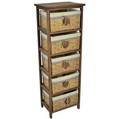 Cassettiera legno Carla con cinque cassetti 38 cm x 28 cm x 110 cm ...