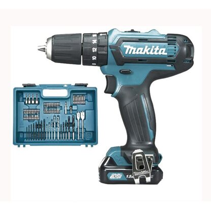 Makita avvitatore HP331DSAX1 in kit 74 accessori e 2 batterie al litio 10,8V