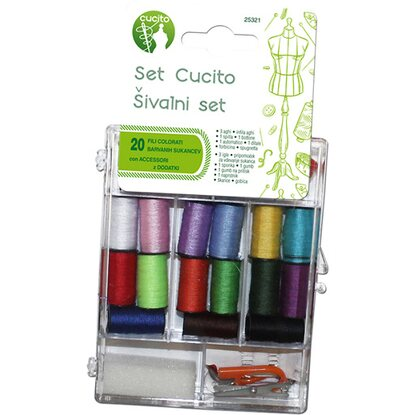 Set cucito con 20 bobine colorate e accessori