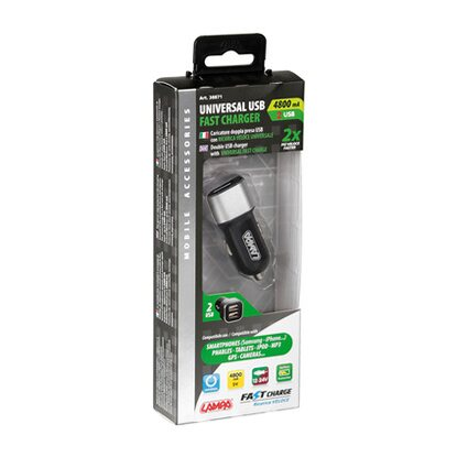 Universal Usb Fast Charger, caricatore 2 prese Usb, ricarica veloce