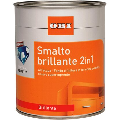 OBI smalto brillante 2 in 1 grigio argentato 125 ml