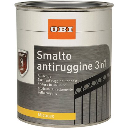 OBI smalto antiruggine 3 in 1 micaceo grigio alluminio 750 ml