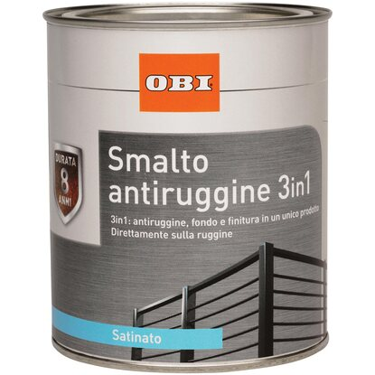OBI smalto antiruggine 3 in 1 satinato nero 2,5 l