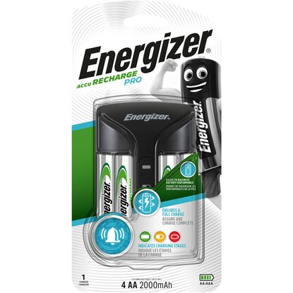 Energizer caricatore Pro Charger+batteria ricaricabile Power Plus AA stilo 4 pz