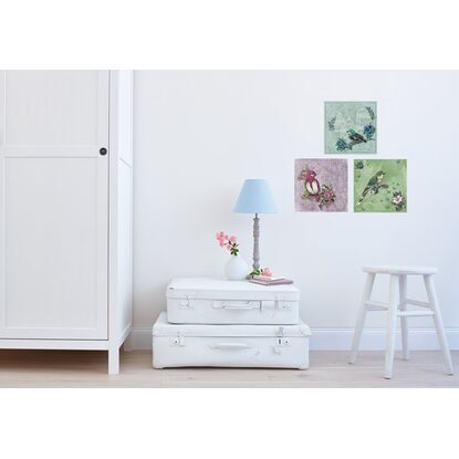 Set 3 stampe autoadesive da parete fantasia birdy acquista for Stampe da parete