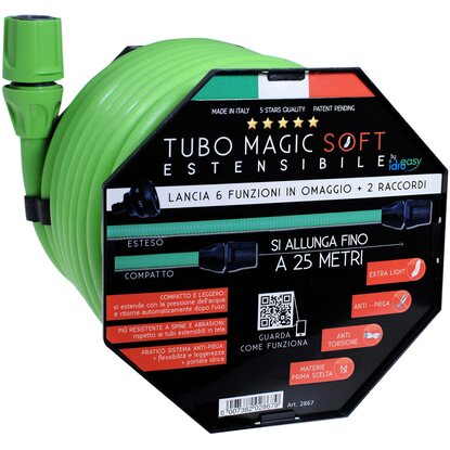 Kit tubo Idroeasy Magic Soft completo di raccordi estensibile fino a 25 m