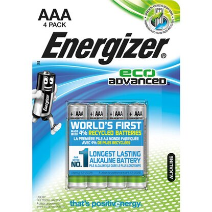 Energizer batteria alcalina Eco-Advanced AAA mini stilo 4 pz
