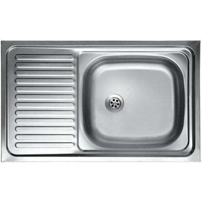 Lavello in acciaio inox con una vasca a destra 80 x 50 cm acquista ...