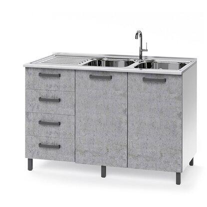 Base cucina sottolavello 120 cm 2 ante e 4 cassetti larice ...